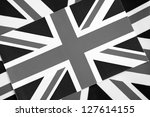 Two Union Jack Flags of UK Background in Black and White Tone - stock photo