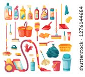 household set and cleaning... | Shutterstock .eps vector #1276144684