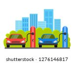 electric cars at charging... | Shutterstock .eps vector #1276146817