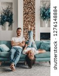 couple in love in jeans and t... | Shutterstock . vector #1276148884