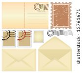 postcard and stamps vector | Shutterstock .eps vector #12761671