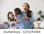 excited wife and kid daughter... | Shutterstock . vector #1276191064
