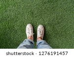 top view of female feet with... | Shutterstock . vector #1276191457