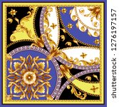 design scarf with golden... | Shutterstock .eps vector #1276197157