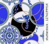 seamless pattern with golden... | Shutterstock .eps vector #1276199914