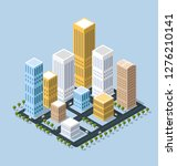 colorful 3d isometric city | Shutterstock . vector #1276210141