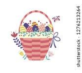 wicker easter basket filled... | Shutterstock .eps vector #1276213264