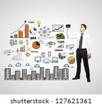 businessman drawing city scheme ... | Shutterstock . vector #127621361