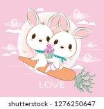 cute bunny rabbit couple in... | Shutterstock .eps vector #1276250647