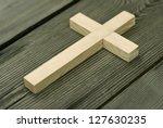 wooden cross - stock photo