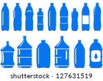 set of isolated water bottle icon on white background