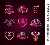 valentine day neon label set....   Shutterstock .eps vector #1276316671