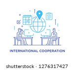 businessmen negotiate online.... | Shutterstock .eps vector #1276317427
