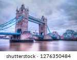 tower bridge over thames river... | Shutterstock . vector #1276350484