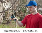 guy trimming trees with... | Shutterstock . vector #127635341