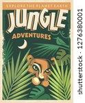jungle adventures retro poster... | Shutterstock .eps vector #1276380001