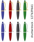 pens of different colors with... | Shutterstock . vector #127639661