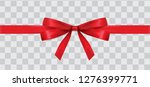 thin red ribbon with bow | Shutterstock .eps vector #1276399771