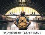 asian man backpacking starting... | Shutterstock . vector #1276446577