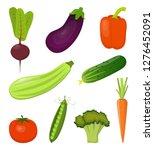 set of fresh vegetables  bright ... | Shutterstock .eps vector #1276452091