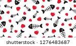 fish bone seamless pattern... | Shutterstock .eps vector #1276483687