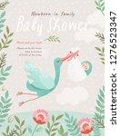 baby shower invitation template ... | Shutterstock .eps vector #1276523347