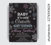 invitation card for baby shower....   Shutterstock .eps vector #1276543624