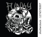 funky robot  black and white... | Shutterstock .eps vector #1276578307