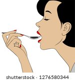 woman in profile with open... | Shutterstock . vector #1276580344