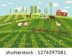 rural countryside landscape ... | Shutterstock .eps vector #1276597081