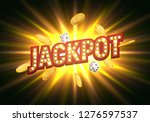jackpot sign with falling gold... | Shutterstock .eps vector #1276597537