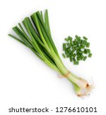 Green Onion Isolated On White...