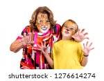 boy with grandmother with... | Shutterstock . vector #1276614274