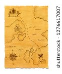 pirate treasure map isolated | Shutterstock . vector #1276617007