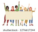 group of woman holding blank... | Shutterstock .eps vector #1276617244