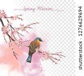 spring blossom. flowering plum... | Shutterstock .eps vector #1276629694