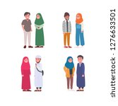 set of young moslem couple... | Shutterstock .eps vector #1276633501