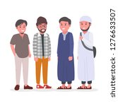 group of young adult muslim man ... | Shutterstock .eps vector #1276633507