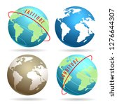 earth globe set with latitudes... | Shutterstock . vector #1276644307