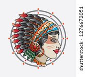 traditional indian girl head... | Shutterstock .eps vector #1276672051