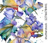 purple iris floral botanical... | Shutterstock . vector #1276678441