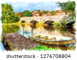 a rowing boat moored to a jetty ... | Shutterstock . vector #1276708804