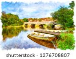 watercolour painting of boats... | Shutterstock . vector #1276708807