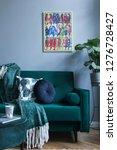 grey luxury interior with green ... | Shutterstock . vector #1276728427