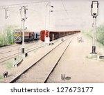 Train Art Background Painting