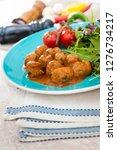 kofta tagine moroccan meatballs ... | Shutterstock . vector #1276734217