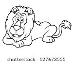 illustration of cartoon lion  ...