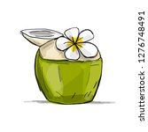 coconut juice with frangipani... | Shutterstock .eps vector #1276748491