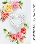 beautiful spring flowers on...   Shutterstock . vector #1276748704