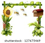 Illustration Of Bees In The...